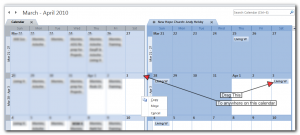 Showing how to copy an item from one calendar to another in Outlook 2010