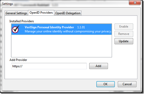OpenID Providers tab - select the provider and choose Update