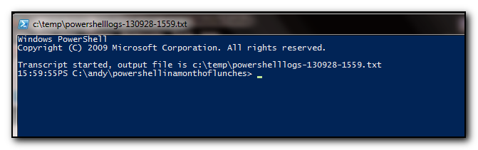 Powershell prompt with the filename in the title and current time in the prompt