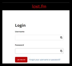 Last.FM logon page