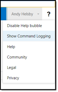 Help Button, Show command logging.