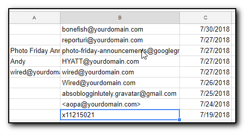 L:ist of catch all email addresses used