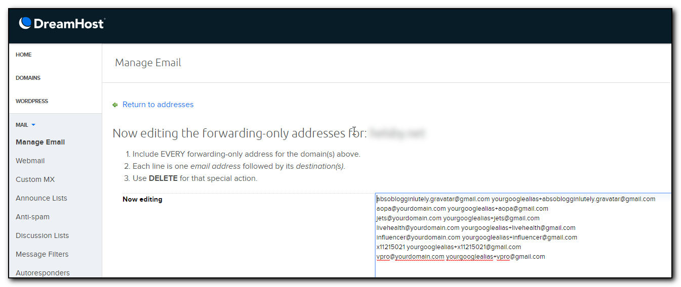 Pasting emails into Dreamhost