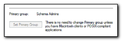 Setting Primary Group to Schema Admins